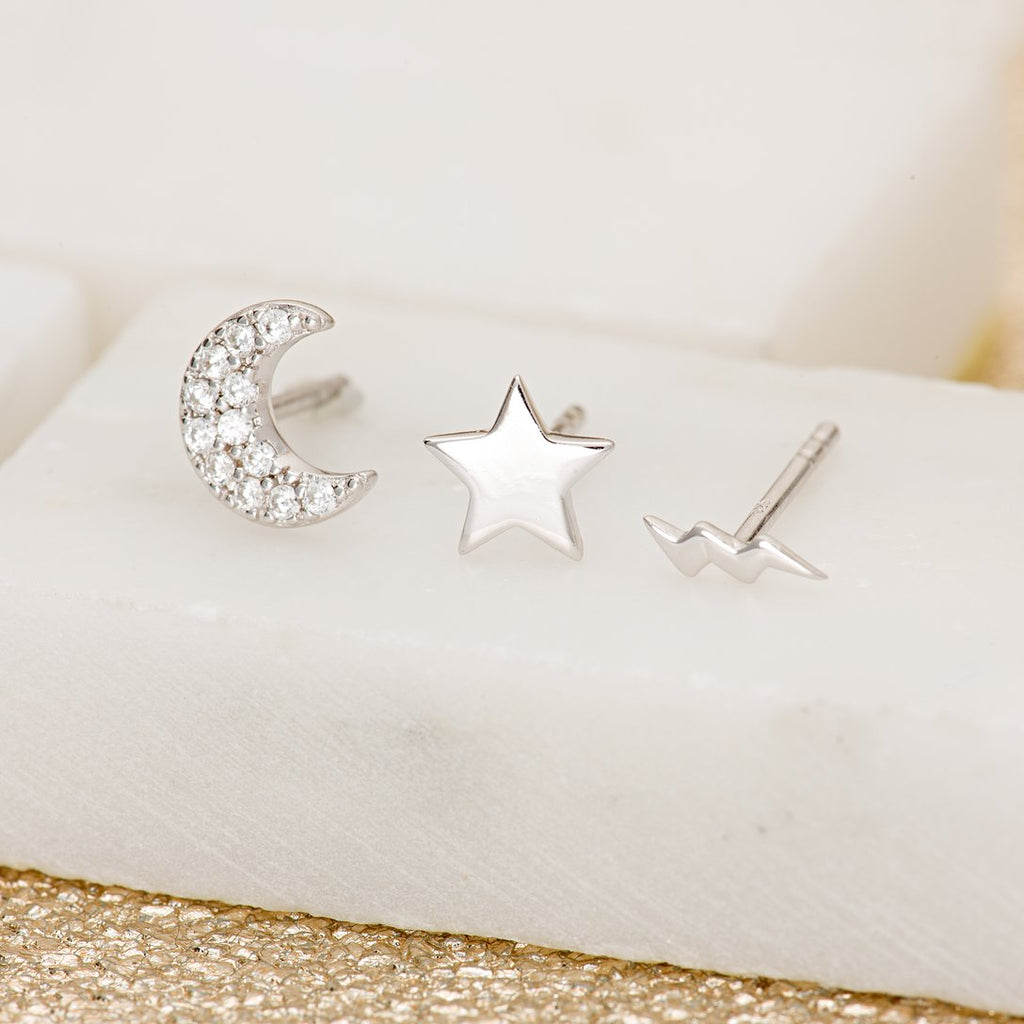 Celestial Set Of 3 Single Stud Earrings - Silver