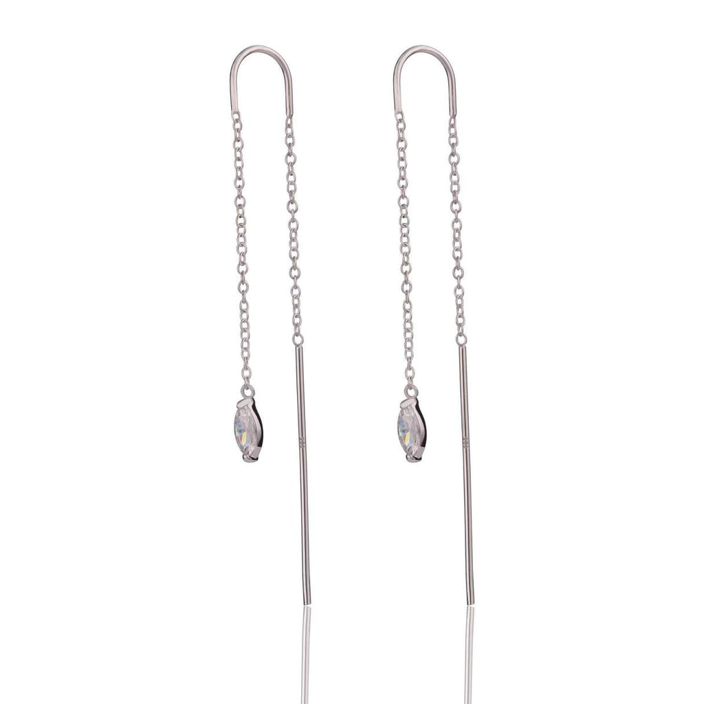 Droplet Crystal Threader Earrings - Sterling Silver