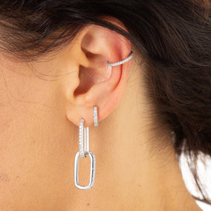 Oval Huggie Hoop Earrings With Clear Stones