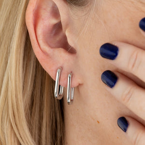 Oval Huggie Hoop Earrings