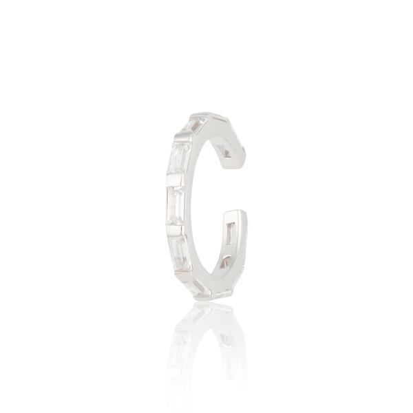 Sparkling Baguette Silver Ear Cuff