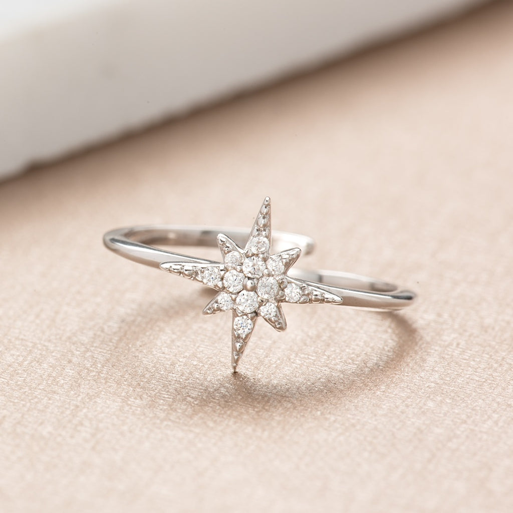 Starburst Ring - Rhodium Plated