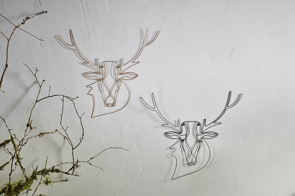 Stag Wire Wall Art - Brass