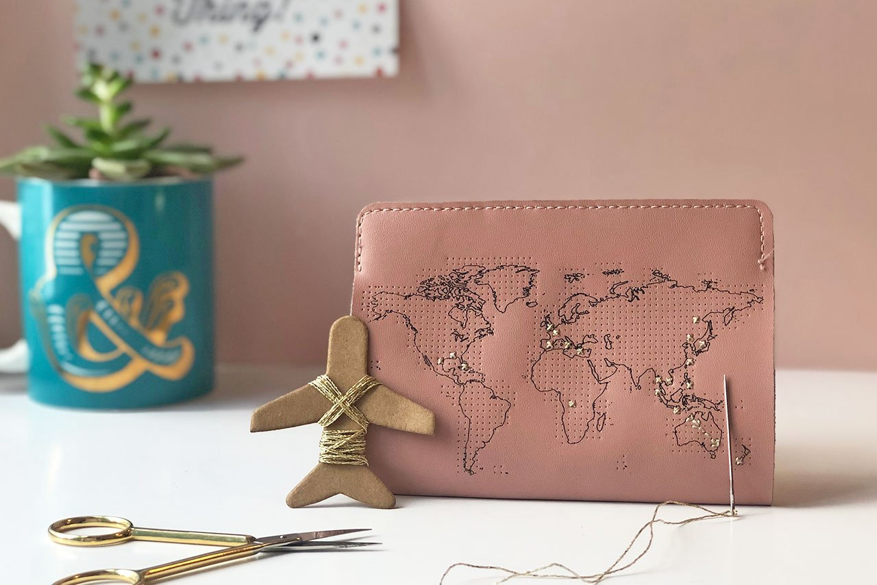 Stitch Passport Cover - Pink Leather