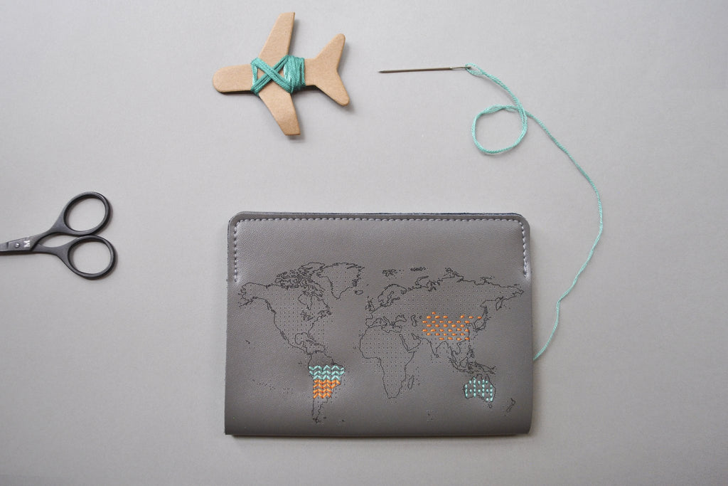 Stitch Leather Passport Cover - Grey