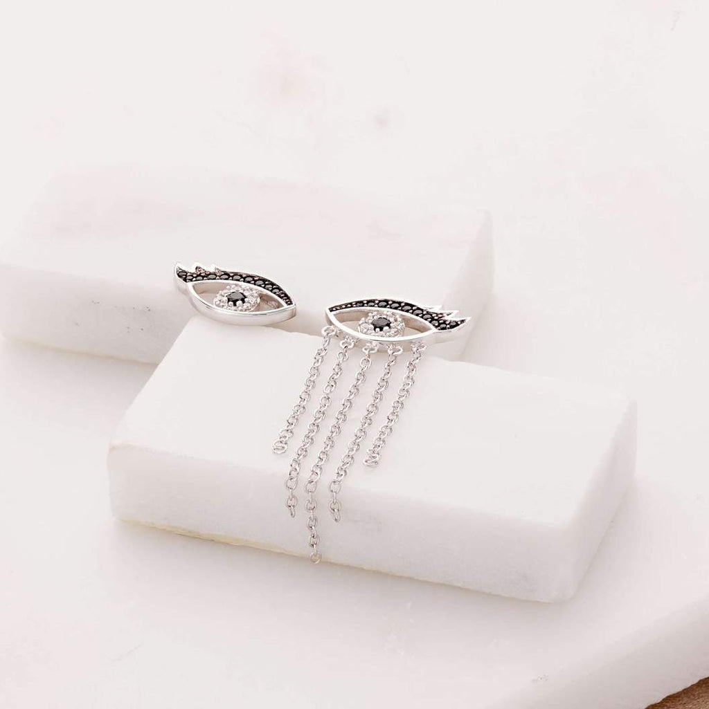 Silver Mismatched Crying Eyes Earrings