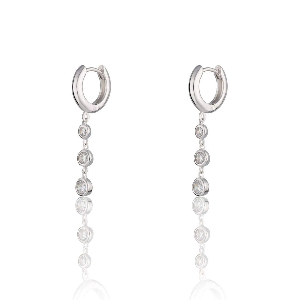 Huge Earrings with Triple Drop Sparkle - Silver