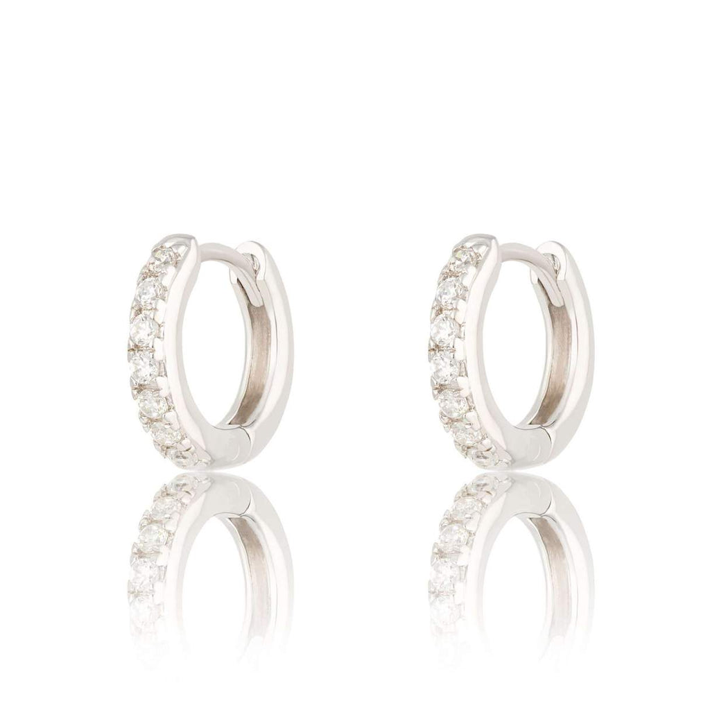 Huggie Hoop Earrings With Clear Stone - Silver