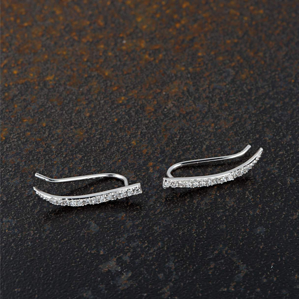 Sparkling Climber Earrings - Silver