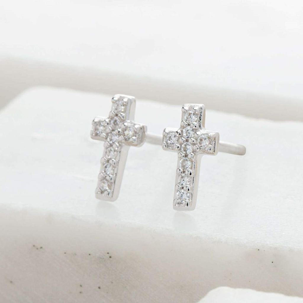 Sparkling Silver Cross Stud Earrings