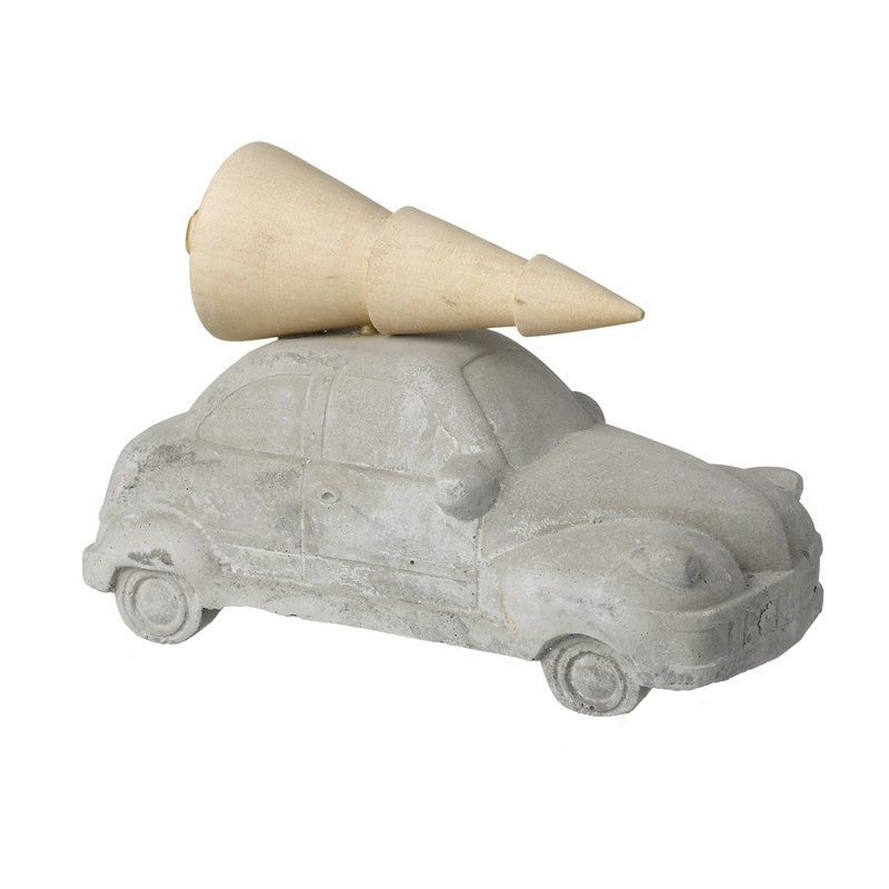 Large Concrete Grey Car With Cream Christmas Tree