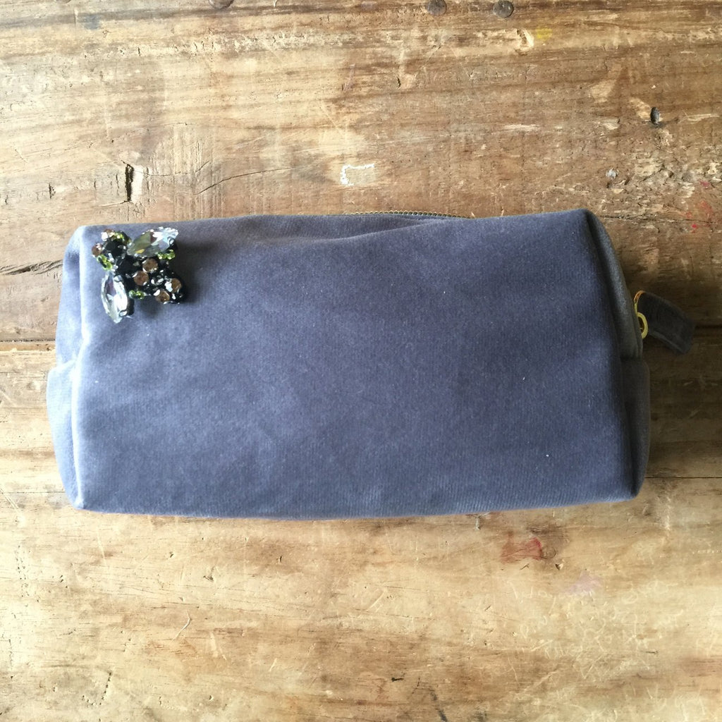 Grey Velevet Make Up Bag With BEE Pin