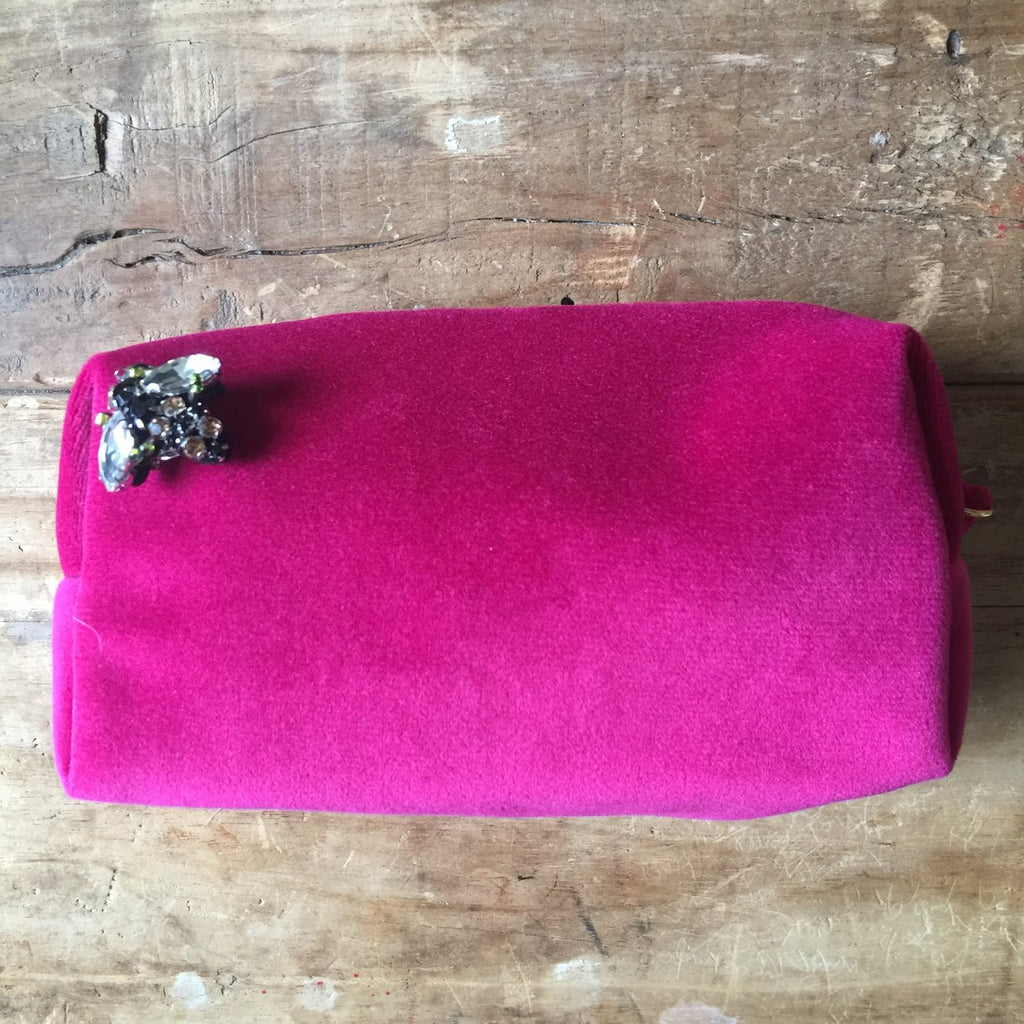 Vibrant Pink Velvet Make Up Bag With BEE Pin