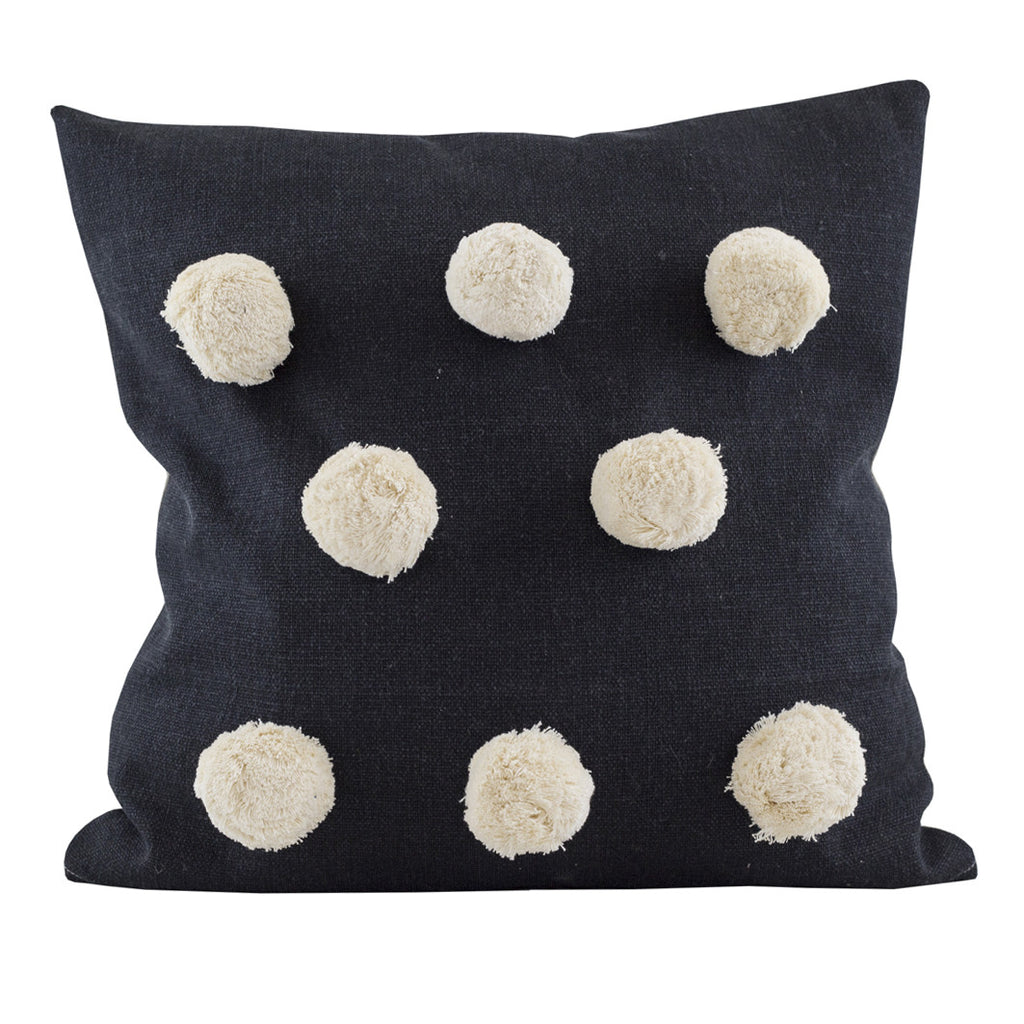 Black Large Pom Pom Cushion