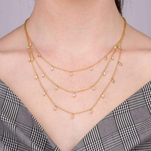 Three Strand Crystal Droplet Necklace