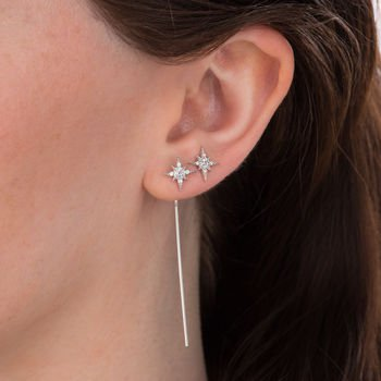 Starburst Bar Threader Earring - Rhodium Plated
