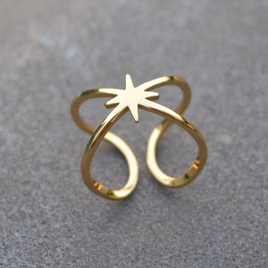 Double Band Adjustable Star Ring