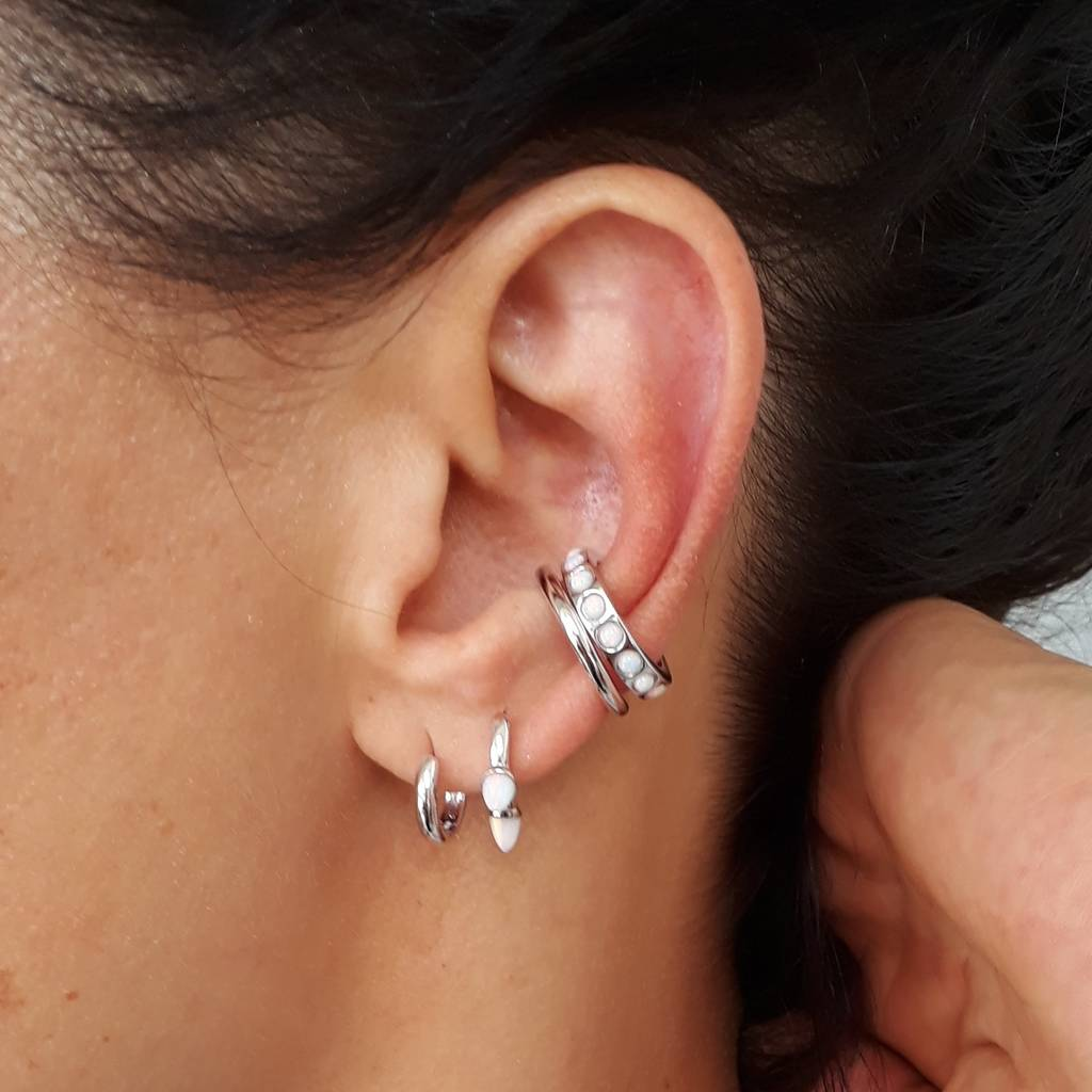 Sterling Silver Ear Cuff With White Opals