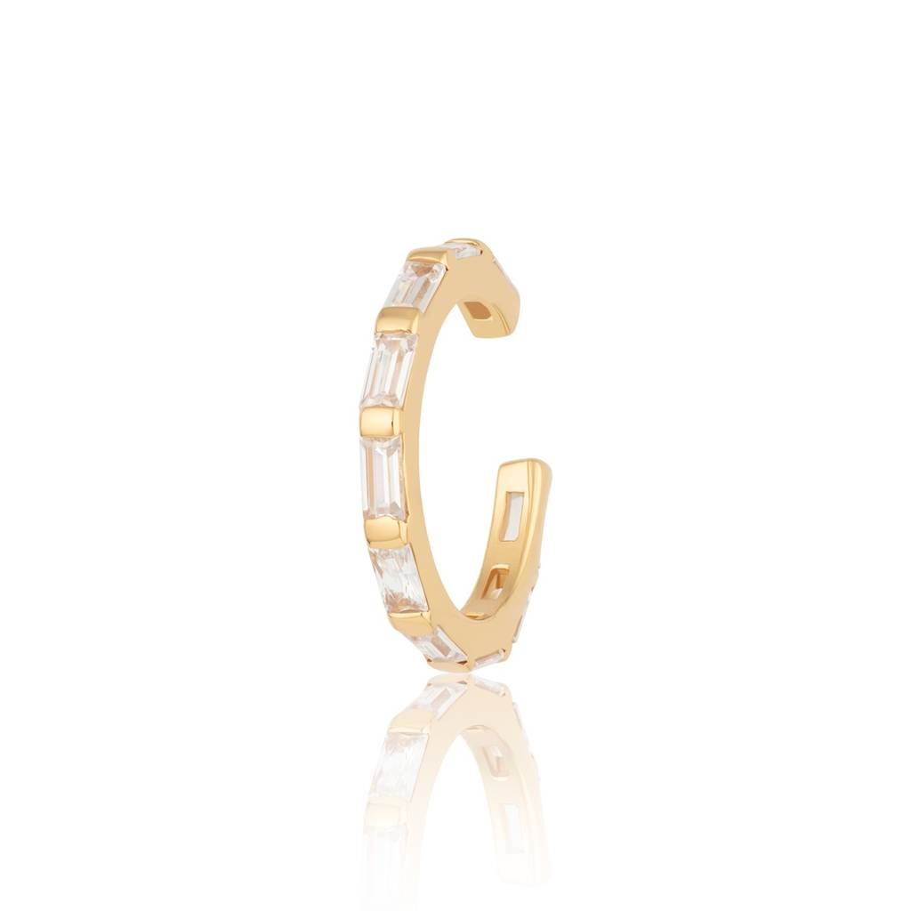 Gold Plated Sparkling Baguette Ear Cuff