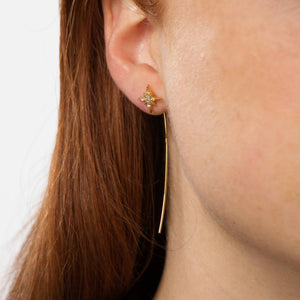 Starburst Bar Threader Earring - Gold Plated Sterling Silver