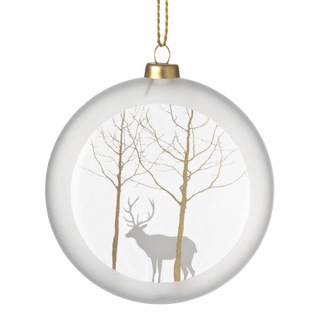 Frosted Medallion Bauble - Stag