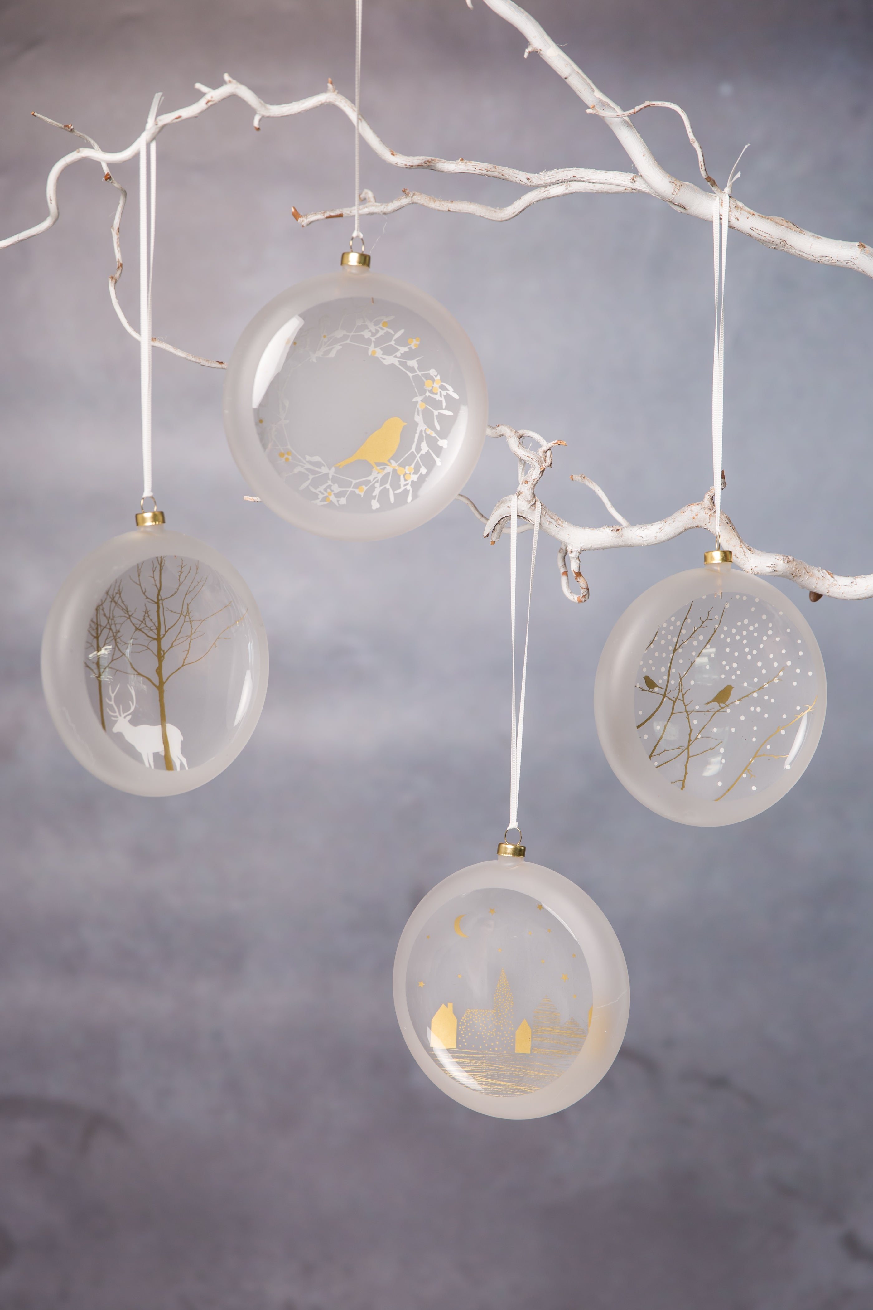 Large Frosted Glass Bauble - With Gold Bird