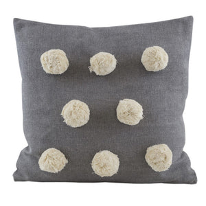 Grey Large Pom Pom Cushion