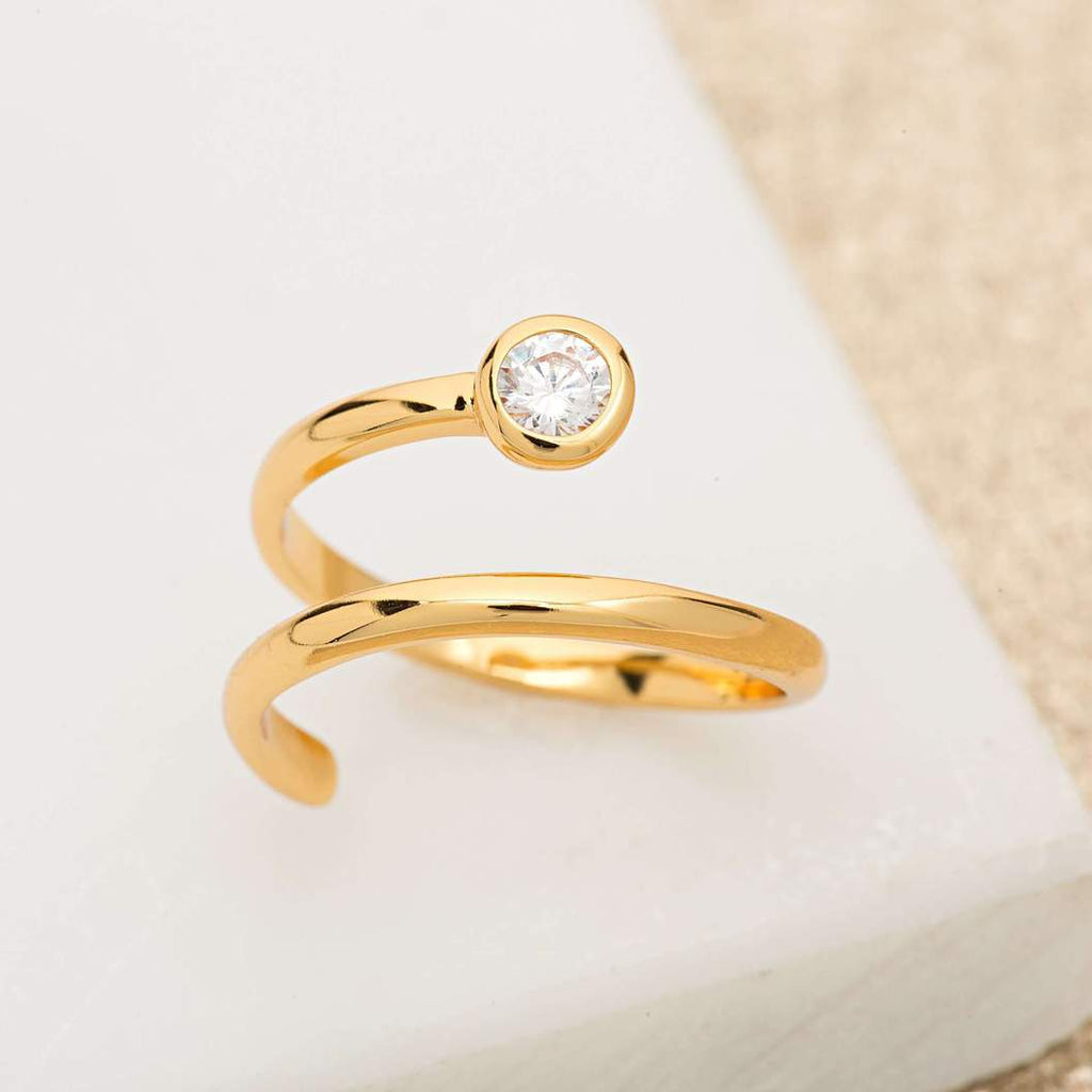 Adjustable Spiral Ring - Gold/Clear