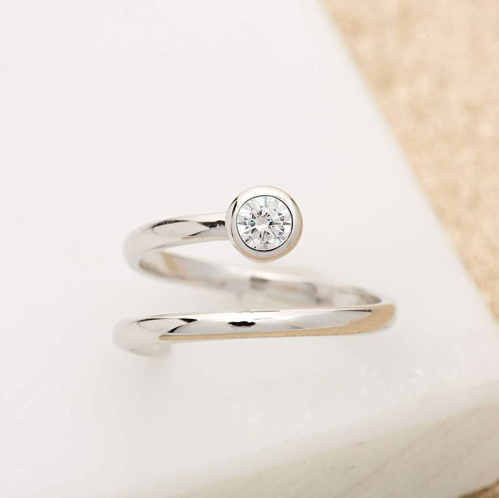 Adjustable Spiral Ring - Silver/Clear