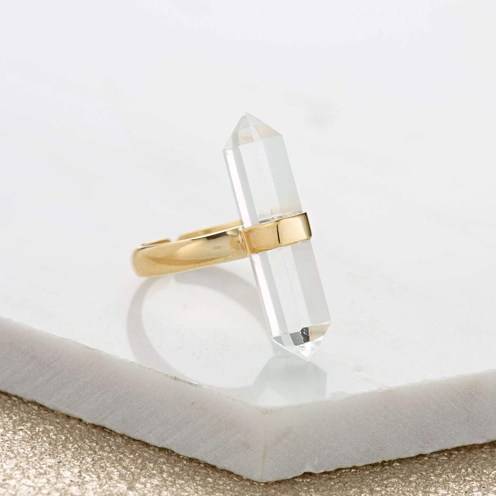 Gold Verical Crystal Ring