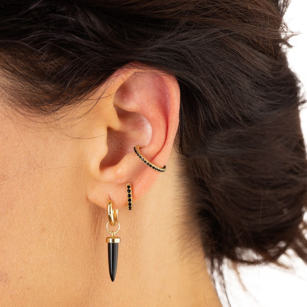 Black Stone Gold Ear Cuff