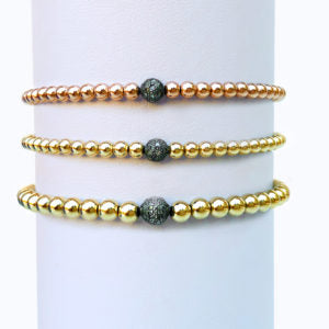 Yellow Gold Bracelet With Sterling Silver Oxidized Diamond Bead