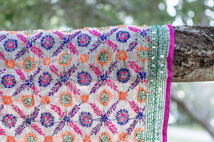 Sequined Shawl - Pink Orange Blue Green