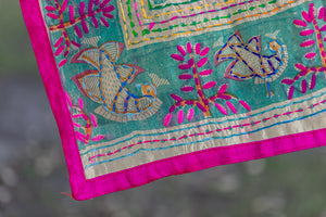 Delicate Embroidered Indian Shawl with Spiritual Warriors