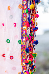 Delicate Embroidered and Mirrored Indian Shawl with Pom Poms