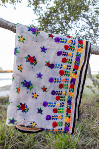 Delicate Embroidered Indian Shawl with Colourful Flowers and Dark Trim