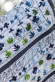 Delicate Embroidered and Sequined Indian Shawl Blue Floral Dark Trim