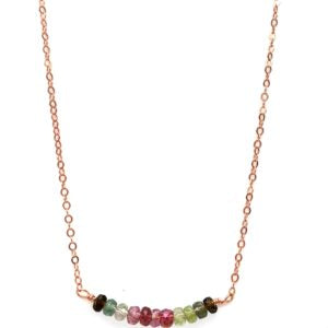 Yellow Gold Filled Necklace With Watermelon Tourmaline