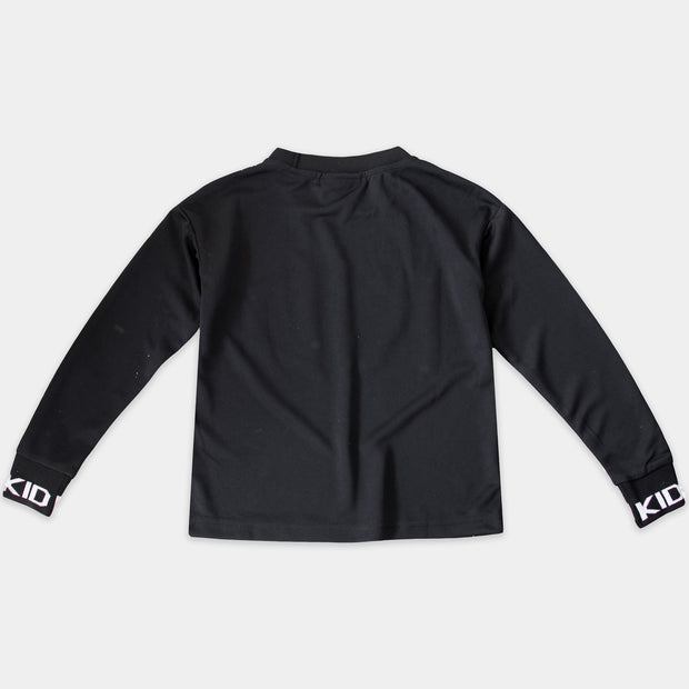 BLACK MESH TEE LONG SLEEVE