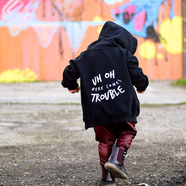 KIDULT & CO UH OH HERE COMES TROUBLE UNISEX HOODIE
