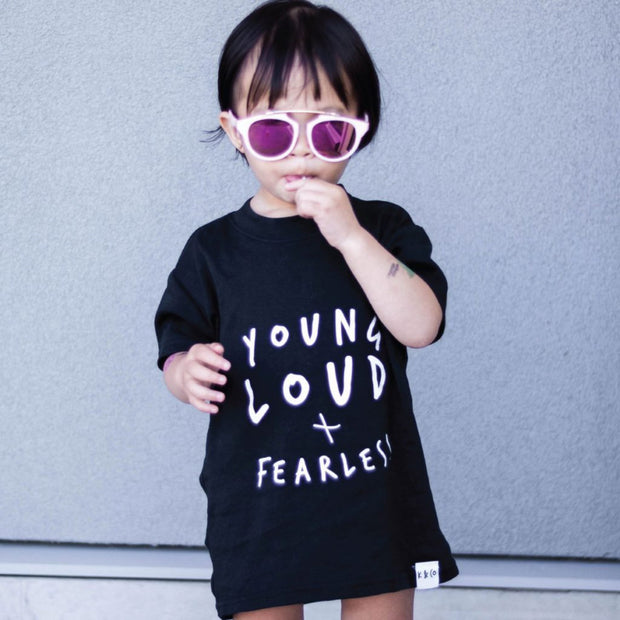 KIDULT & CO YOUNG, LOUD + FEARLESS UNISEX TEE