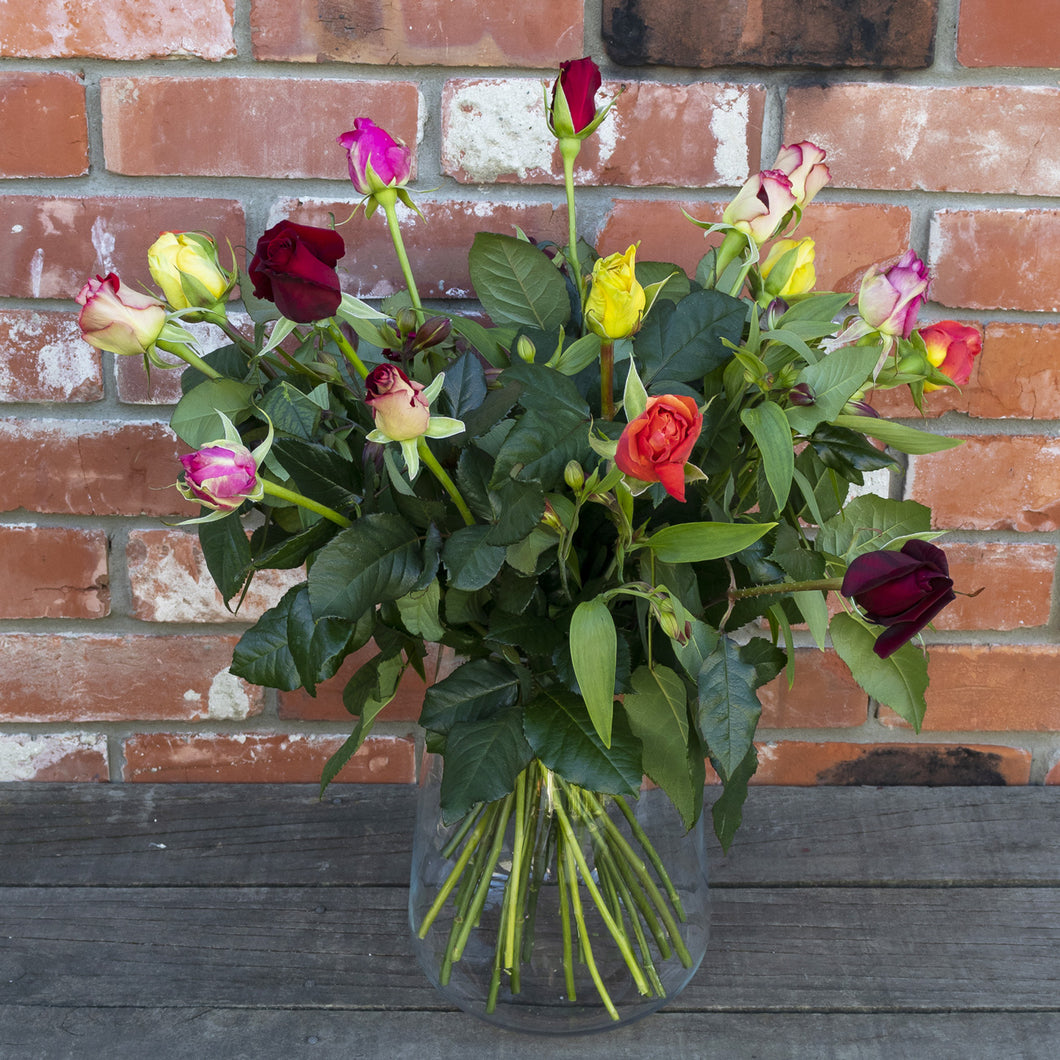 Bright multi-coloured Roses with Alstromeria
