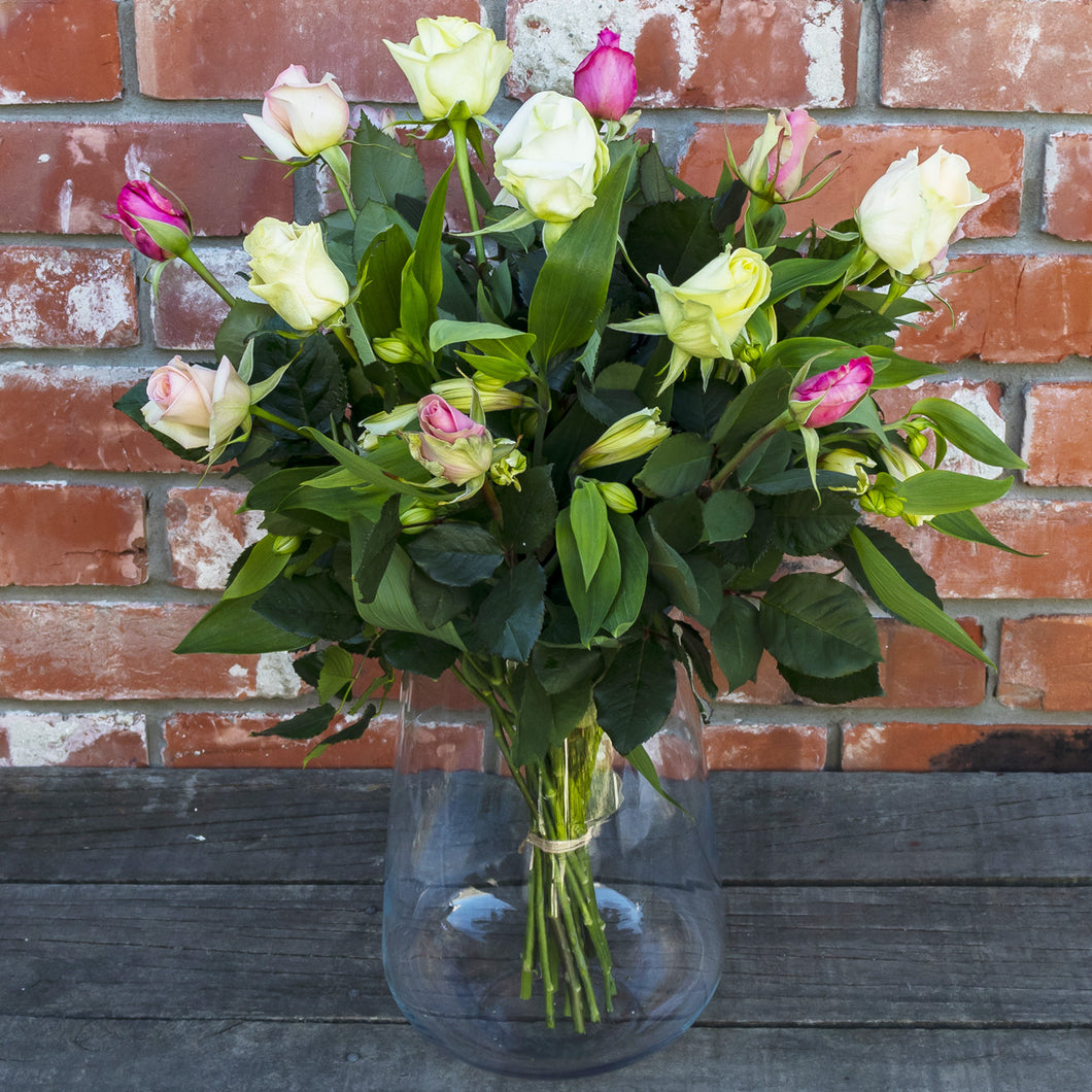 Pale multi-coloured Roses with Alstromeria