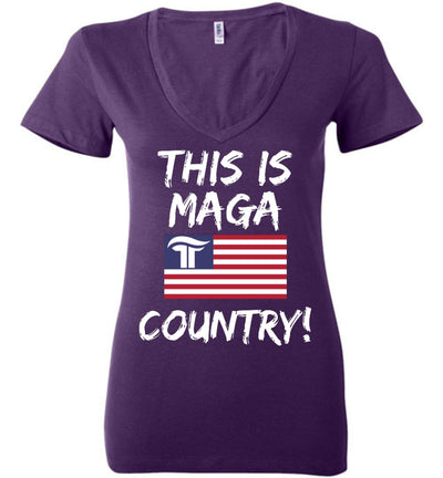 Women's This Is MAGA Country V-Neck Tee - The Trumptastic Shop