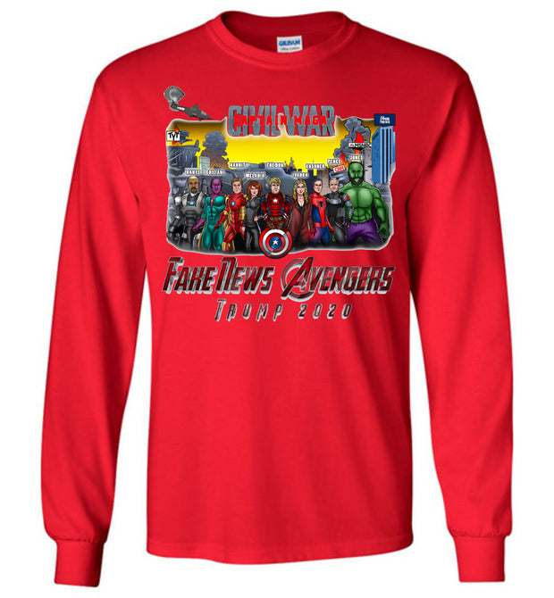Captain MAGA & The Fake News Avengers Long Sleeve Tee - The Trumptastic Shop