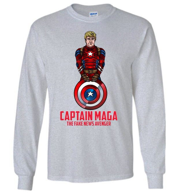 Cap MAGA The Fake News Avenger Long Sleeve Tee - Red - The Trumptastic Shop