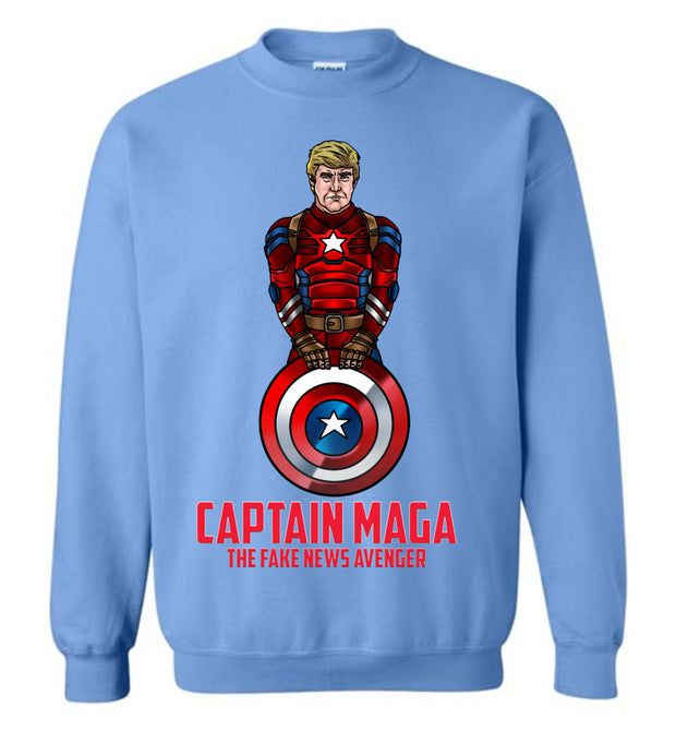 Cap MAGA The Fake News Avenger - Crewneck Sweat Shirt- Red - The Trumptastic Shop