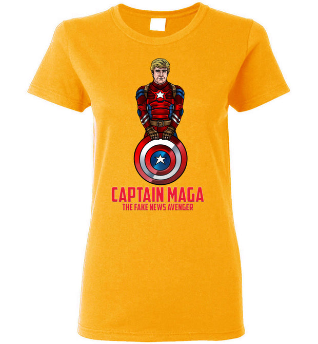 Women's Cap MAGA The Fake News Avenger Tee - Red - The Trumptastic Shop