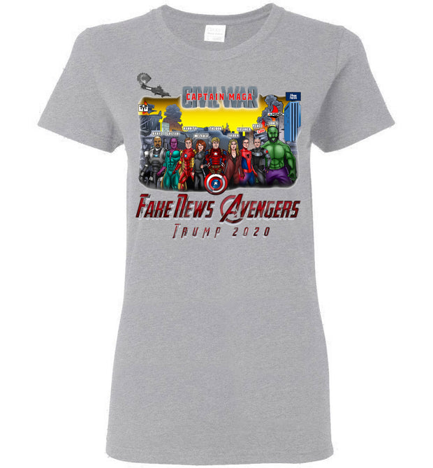 Women's Captain MAGA & The Fake News Avengers Tee - The Trumptastic Shop