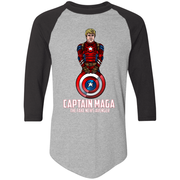 Captain MAGA The Fake News Avenger Baseball Tee - White - The Trumptastic Shop